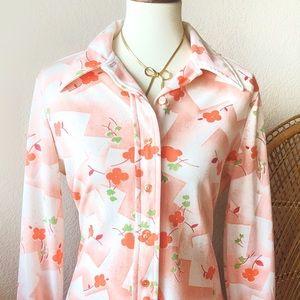 True Vintage🌸70s Peachy Spring Blossom Blouse!